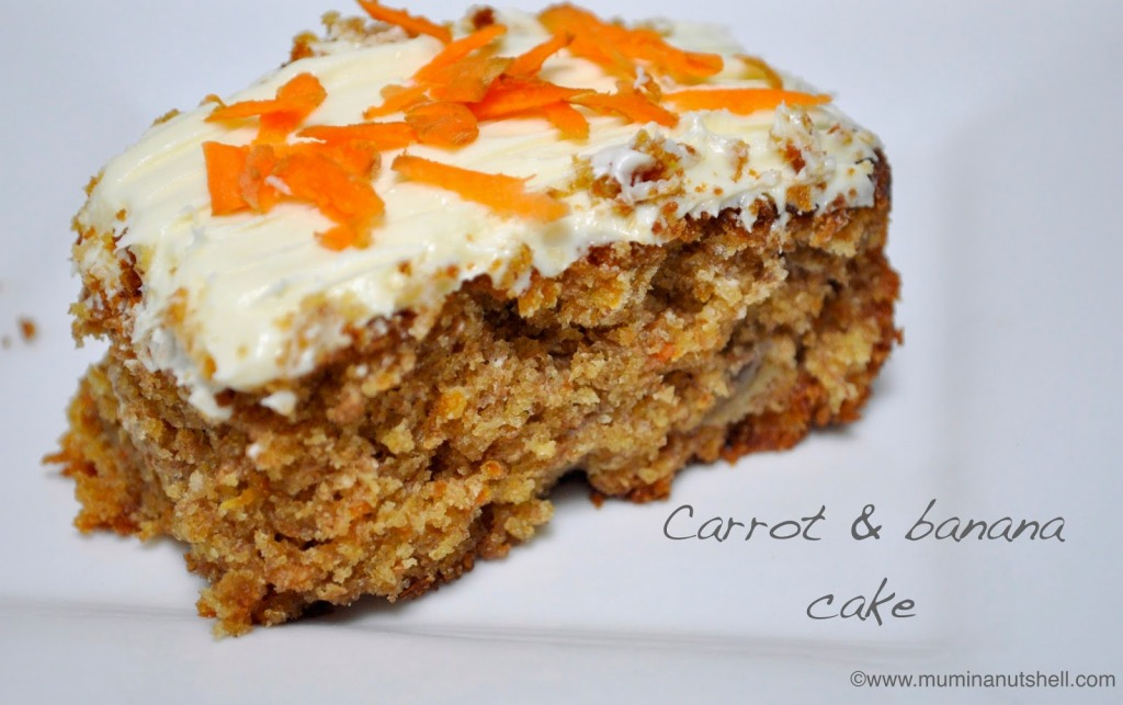 A deliciously moist carrot and banana cake recipe perfect for using up overripe browning bananas. This does on the healthier side of cakes so no guilt needed and great for indulging all your GBBO urges