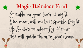 Download this label to add a professional touch to some homemade magic reindeer food (recipe for Christmas reindeer food available here too)