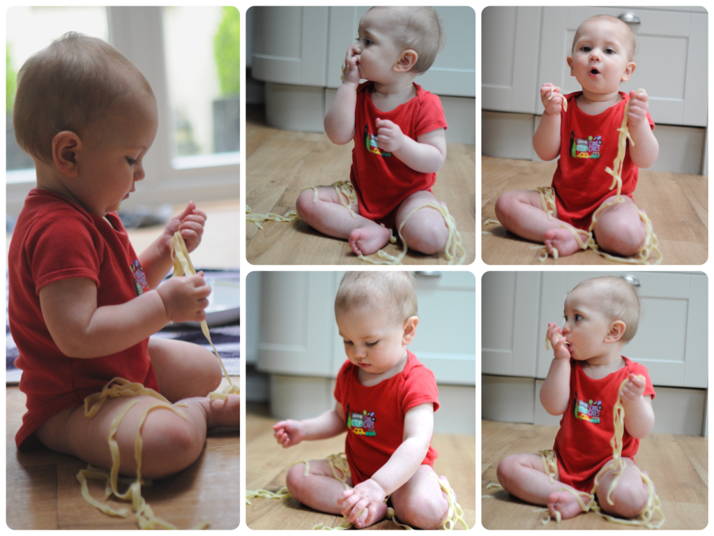 spaghetti messy play, fun with food by Mum in a nutshell