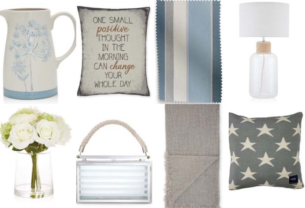 A mood board for a calming colour scheme in greys and muted blues from Next.
