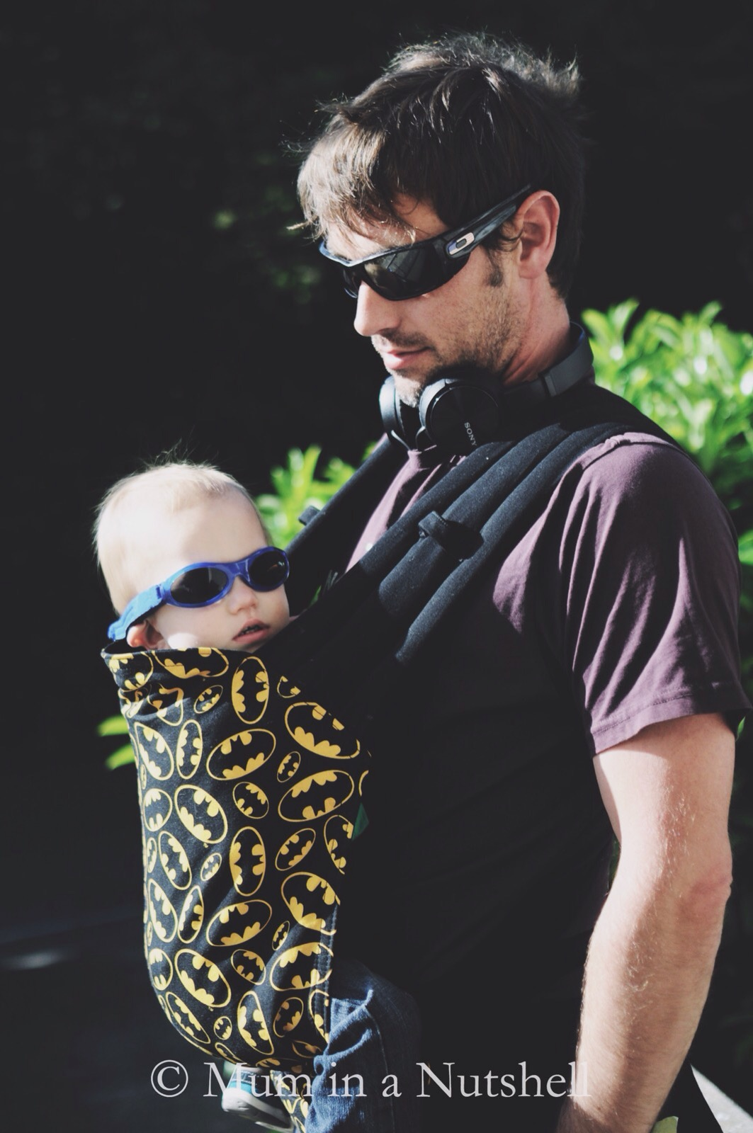 An awesome Batman baby carrier