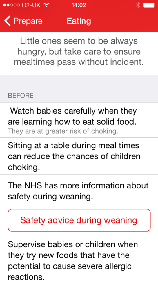 download this free app from the British Red Cross and have first aid at you finger tips