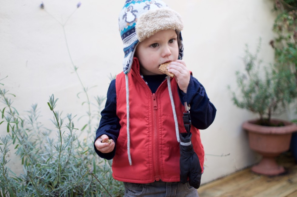 Ear flap hats and tie on mittens, just 2 of the winter must haves for toddlers