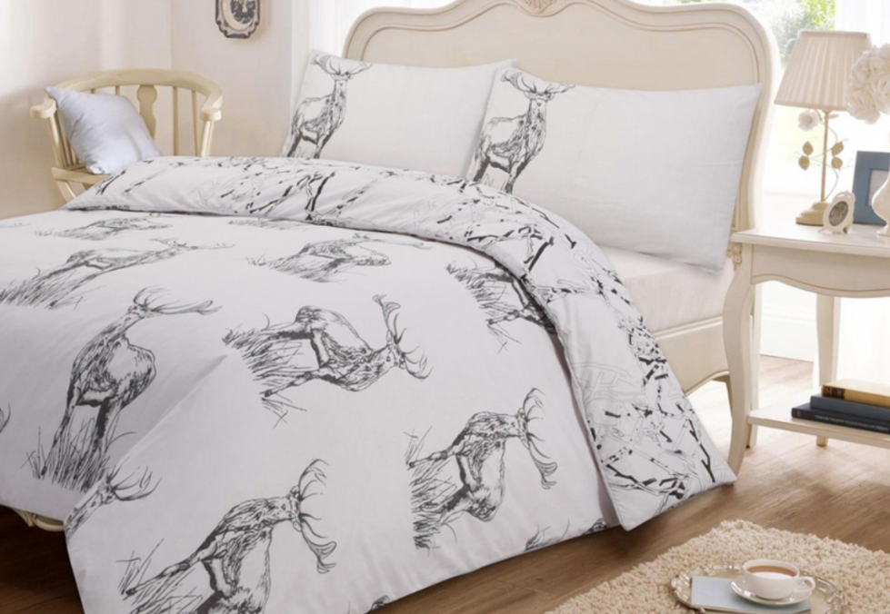 Creating a bedroom makeover with a new duvet set to match my grey toile curtains