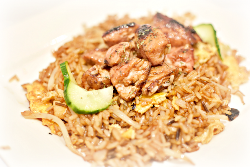 A recipe for an easy to make but full of taste nasi gioreng rice with chinese marinated chicken