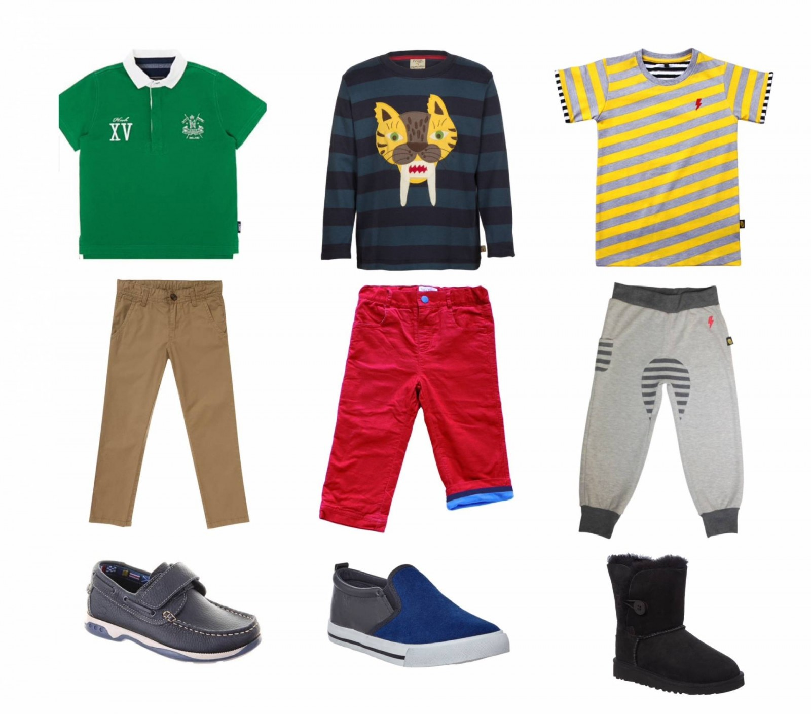A collection of boy toddler outfits for every occasion.