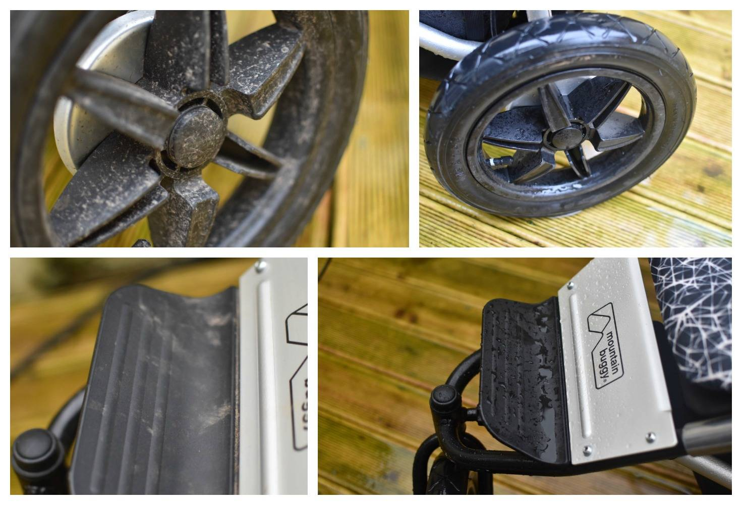 beofre and after photos of the effects on using a power washer on our decking and pushchair