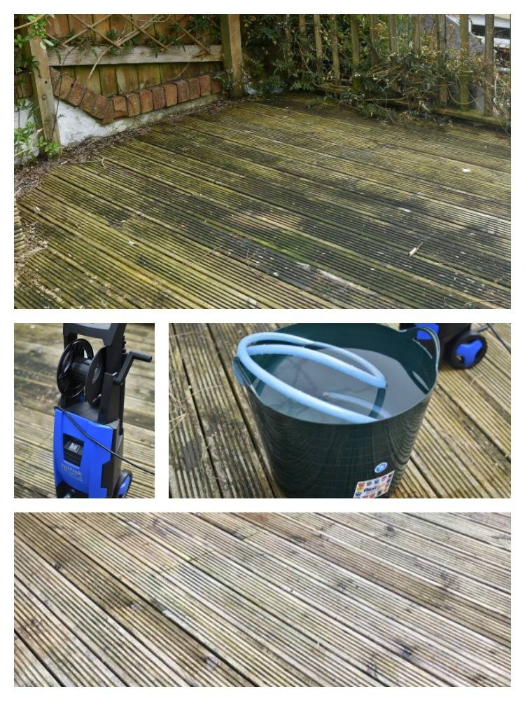 Before and after shots of our neglected decking after using a pressure washer to bring it back to it's former glory