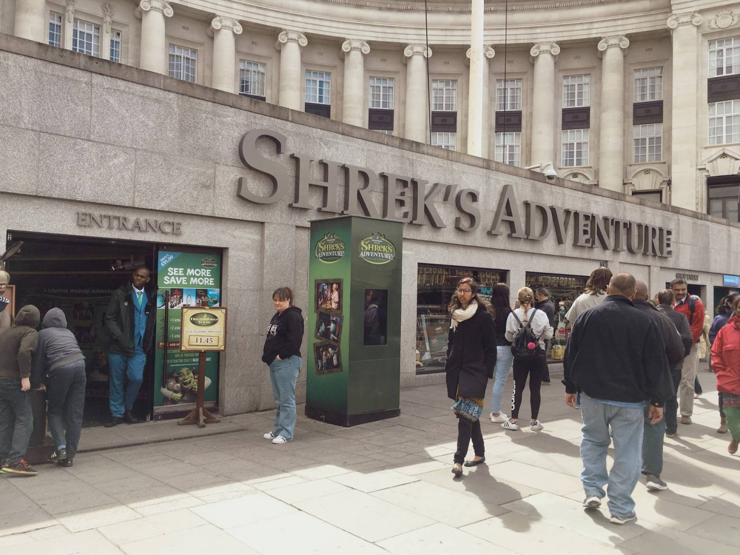 our visit to London with a toddler, tween and teenager began with a visit to Shrek's Adventure