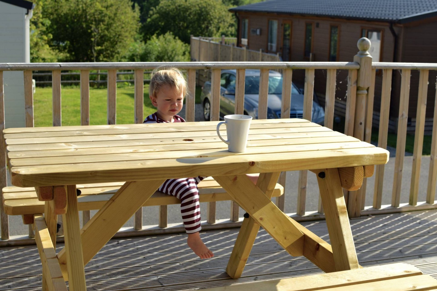 breakfast on the decking at Trevella Park caravan and campsite in Cornwall