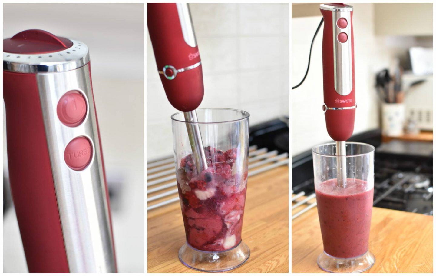 Testing out the Savisto hand blender on smoothies, just one of my must have appliances.