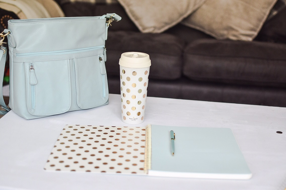 I've been colour streamlining my blogger and freelancer accessories with some mint and gold products from the new Kate Spade range