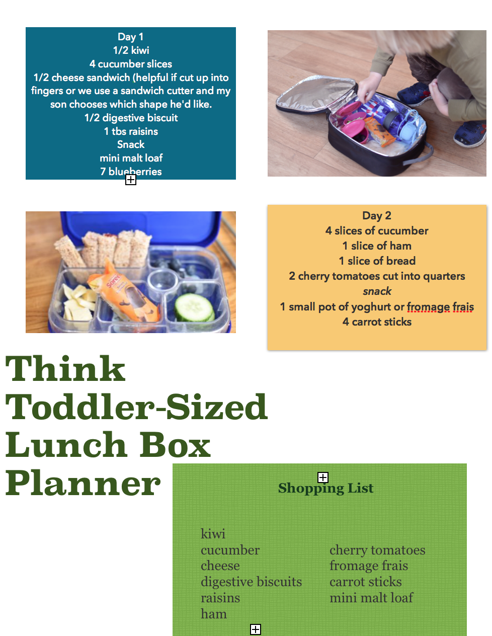 a toddler lunch box meal planner for the Toddler sized challenge